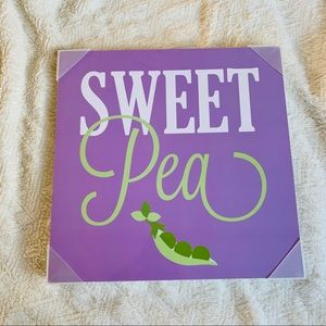 "Nursery Decor Purple Green Wall Sign ""sweet Pea"""